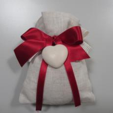 Bomboniera solidale a sacchetto in lino, per Cresima